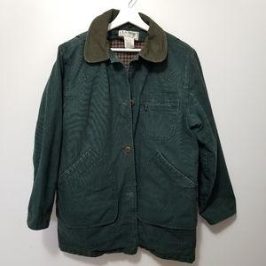 LL BEAN Green Coat Utility Flanel-lined Jacket M